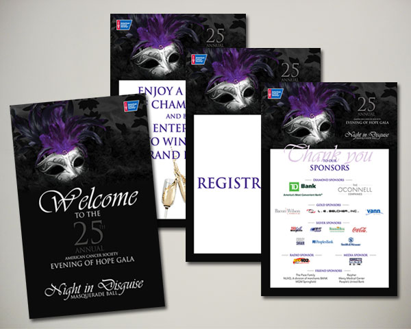 cancer society non profit evening of hope gala masquerade signs