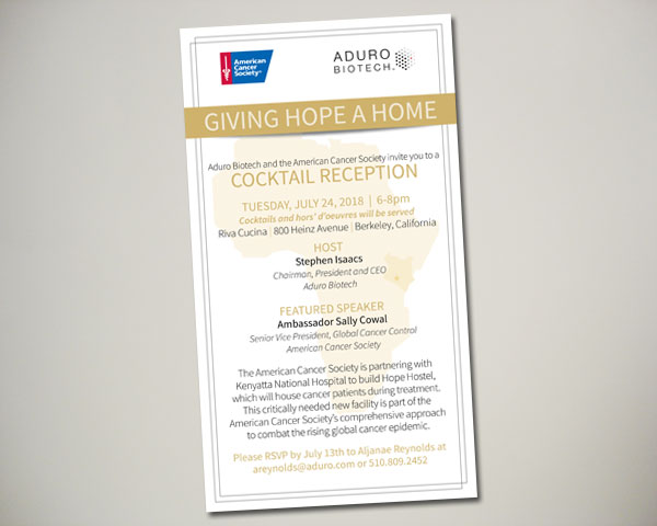 american cancer society giving hope a home cocktail reception invitation design
