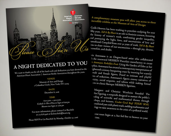 american heart association nyc vip invitation design nonprofit