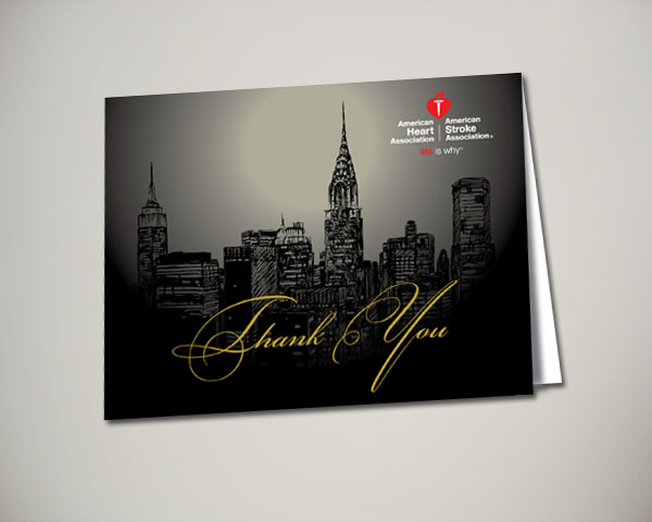 american heart association nyc vip thank you card design nonprofit
