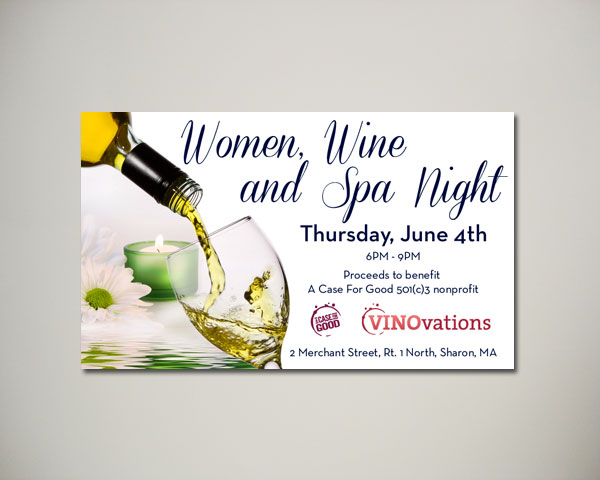 women and spa night wine website banner design