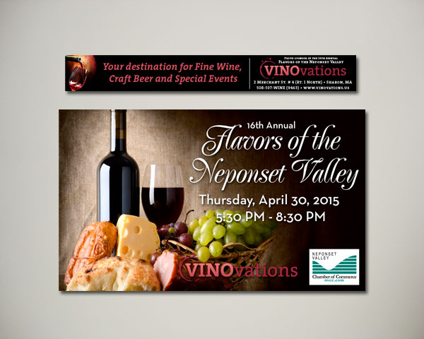 flavors of neponset valley wine website banner design